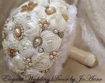 Antique Gold Ivory Brooch Bouquet, Brooch Bouquet, JEWELRY BOUQUET, Ivory and Gold Bouquet, Jeweled Brides Bouquet, Custom Bouquet, Keepsake