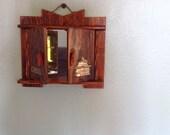 Vinteage Japanese Wooden Folding Makeup Mirror, Hidden Mirror