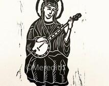 "Our Lady of Bluegrass - Banjo Mary Original Linocut 7.5 x 12"""