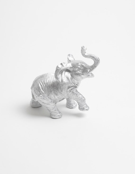 The Henry - Silver Table Top Elephant Decoration - Animal Statue - Faux Taxidermy