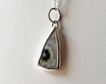 Small Ocean Jasper Pendant - Handmade with Sterling Silver