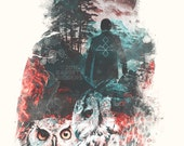 The Owls are Not What They Seem Twin Peaks inspired digital art signed premium quality giclée print
