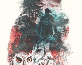 The Owls digital art signed premium quality giclée print