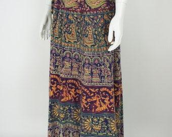 Vintage 70's Maxi Indian Wrap Skirt