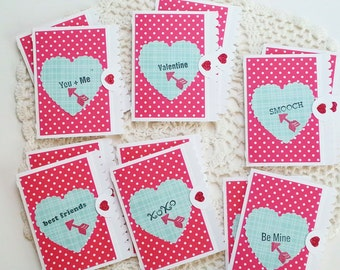 Valentines for the classroom, set of 12 mini cards, tags