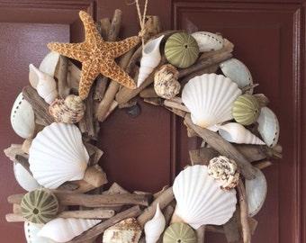 Seashell & Starfish Driftwood Wreath - Urchin Wreath - Seashell Wreath - Coastal Home Decor - Nautical- Christmas Wreath - Free US Shipping