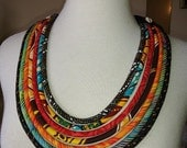 African, Batik  and Ethnic Print Multi Cord Necklace - Wearable art gift idea by Painted Threads