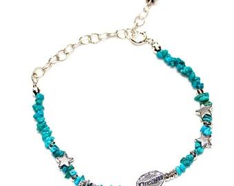 Dream Bracelet Kingman Turquoise Bracelet Delicate Bracelet Inspirational Bracelet Turquoise Jewelry Star Bracelet Stacking Bracelet