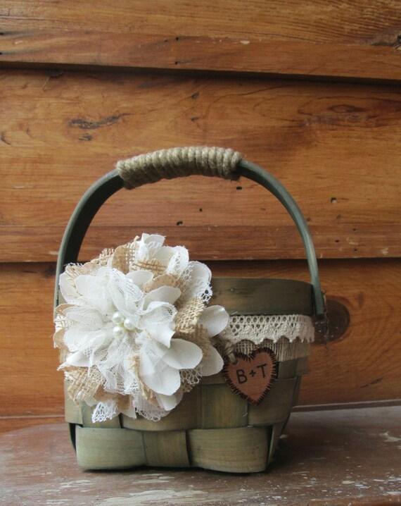 Flower Girl Baskets Green : Personalized flower girl basket green wedding burlap and