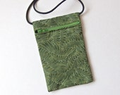 Pouch Zip Bag WINGS green Fabric.  Great for walkers, markets, travel.  Cell Phone Pouch. Small green fabric purse. ipod pouch