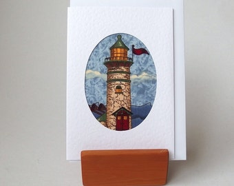 "LIGHTHOUSE Fabric Card. 6"" x 4"" with envelope.  Blank for any occasion. White textured greeting card. Nautical beach seaside ocean card"