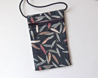 Pouch Zip Bag LEAVES Fabric. Great for walkers, markets, travel. Cell Phone Pouch. Evening Purse. Silver accents on charcoal.