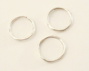 3 Twiggy Circle Links / Hoops, Sterling Silver .925, Closed Ring 14mm, SL113