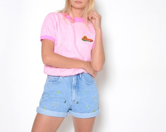 Vintage 80's NO EXCUSES Floral High Waisted Shirts Sz 30W