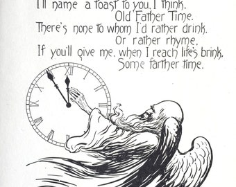 1909 TO FATHER TIME Toast Print by Nella Fontaine Binckley