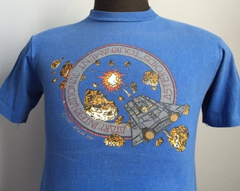 80s Vintage Asteroids 1981 Atari International Tournament video game T-Shirt - MEDIUM 38-40