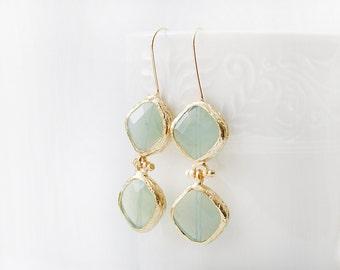 Gold Plated Framed Light Green Glass Stone Earrings