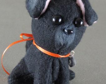 Pug stuffie toy, handmade from fleece, black puppy dog, doll miniature
