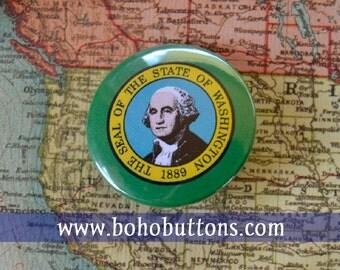 Washington State Flag Pinback Button, Magnet, Badge, Washington Button, Washington gift, Seattle Pin, Souvenir Gift, Washington Keychain