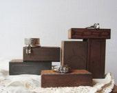 Ring Display Block Set - Jewelry Prop - Vintage Copper Letterpress Printing Blocks