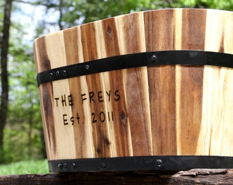 Personalized Wood Planter -Unique Gift for Mom - Burnt Brown Oval or Round wood planters with hand engraving