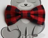 Buffalo Plaid Bow Tie for Cat, Dog Bow Tie, Collar Accessory, Pet Wardrobe, Handmade in Canada, Slip On Collar Accessory, Checks, Red, Black