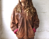 Puget Sound 1980s Distressed Oversized Brown Leather Jacket