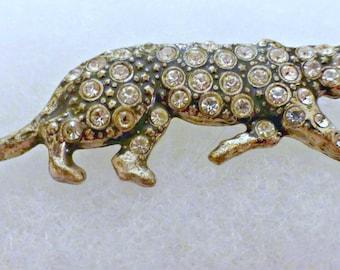 Vintage Costume Metal and Rhinestone Leopard Brooch Pin