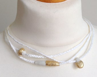 raffia necklace, porcelain and gold leaf