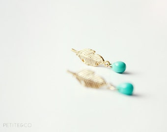 dainty feather studs - boho minimalist gold tone jewelry, gift for her