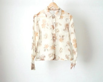 90s FLORAL melrose place slouchy cream & bright sheer shirt