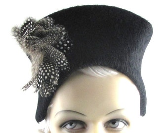 Art Deco1930s Cats Meow Long Hair Black Sculpture with Feathers This is a Custom Order