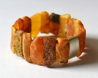 Amber Sterling Silver Bracelet / Stretch Modern Urban Amber / Honey Tones Woodland Earthy Organic
