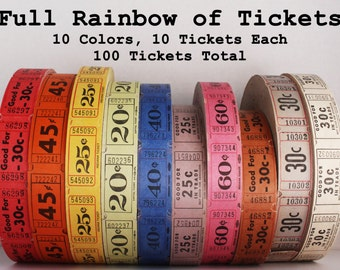 100 Vintage Tickets in a Full Rainbow of Colors - Carnival Ticket Lot - 10 Raffle Tickets in Each of the 10 Colors - Paper Ephemera