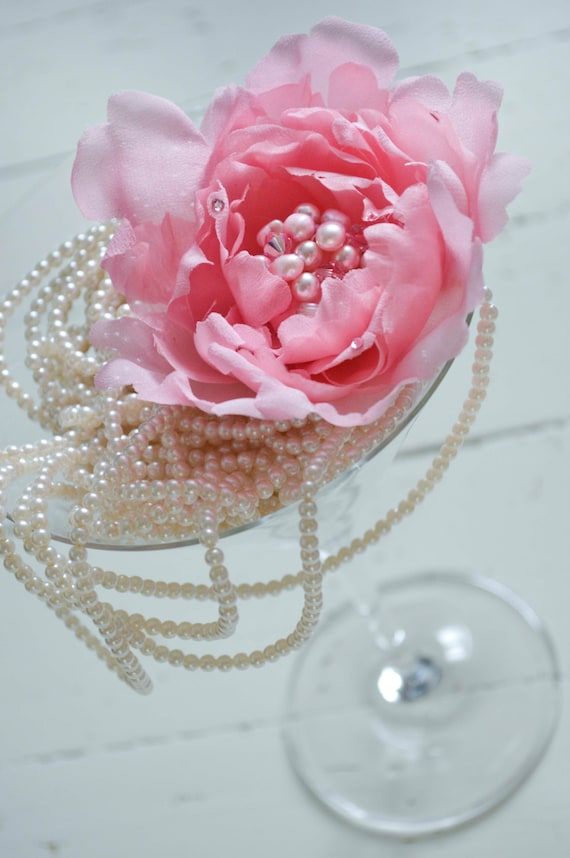Peony Hair Clip, Pink Hair Flowers, Wedding Hair Accessories, Wedding hair piece, Bridal crystal hair piece, Floral Hairpiece