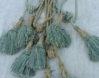 Antique French , 4 Tie Backs , Tassels , Pale Blue, Chateau Shabby & Chic, Flouncy Tassels, French Chic, French homewares.