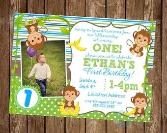 Monkey Birthday Invitation - Monkey Birthday Invite - Monkey Birthday Party - Monkey Invitation - Baby Monkey Invitation - Monkey Party Idea