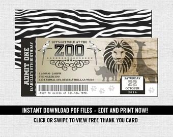 Zoo Ticket Invitations Birthday Party - Jungle Animal Safari (Instant Download) Editable Printable PDF Files Bonus Thank You Card - Zebra