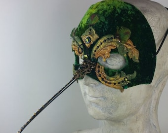 Green Hummingbird Masquerade Mask
