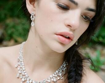 Bridal Earrings, BRIANNA Swarovski Crystal Earrings, Bridal Statement CZ Earrings, Wedding Jewelry, Luxury Earrings, Cubic Zircona Earrings