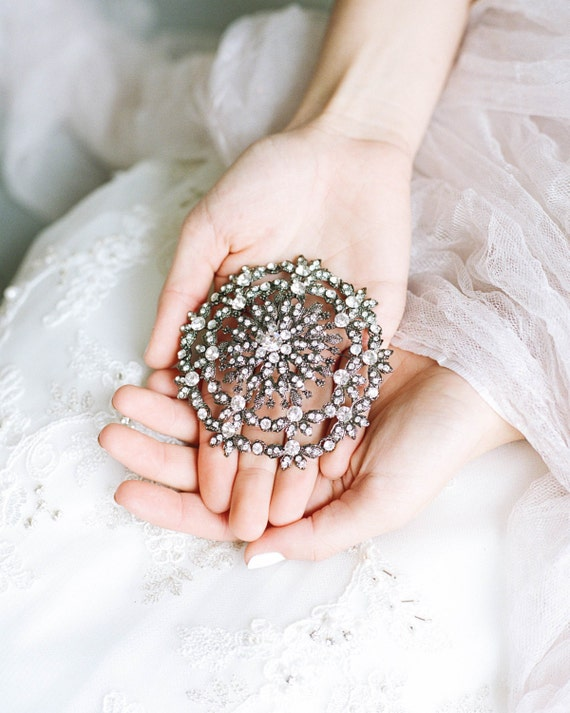 gunmetal wedding brooch swarovski crystal bridal brooch