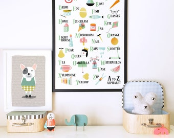 Nursery wall art, nursery decor, alphabet poster, kids room decor, alphabet print