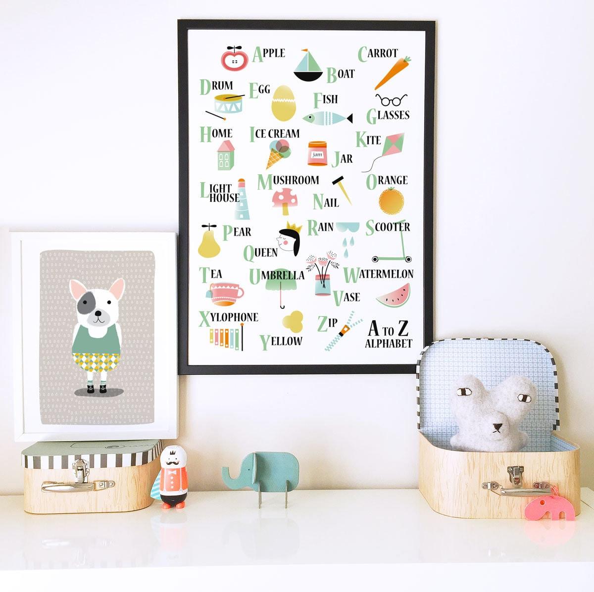 Nursery wall art nursery decor alphabet poster kids room for Alphabet mural nursery