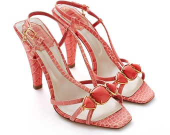 S.A.L.E was 350 now 150 stunning vintage 90s CHRISTIAN DIOR coral snake effect leather strappy sandals