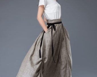grey skirts -maxi skirts-women's skirts-long linen skirts with two pockets in each side C951