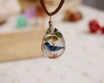 Silver Drop Shape Blue Bird Flower Pendant Necklace Jewelry   0235