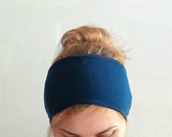 navy blue wide headband exercise head band cotton workout headband fitness yoga hair holder headwrap jersey large headband