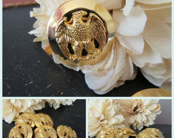 Eagle Buttons Vintage Lot of 5  Large  Heavy  Detailed Gold Metal Buttons American Eagle Patriotic Military Style Patriotic
