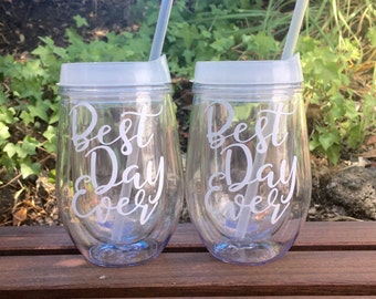 Set of 2 - Best Day Ever Wine Tumblers, Wedding Tumbler, Bride Cup, Stemless Wine Cups, Bev2Go
