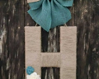 """12"""" jute twine wrapped letter with burlap bow"""